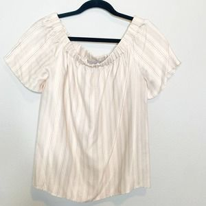 H&M Off Shoulder Blouse Pin Stripped Size 6